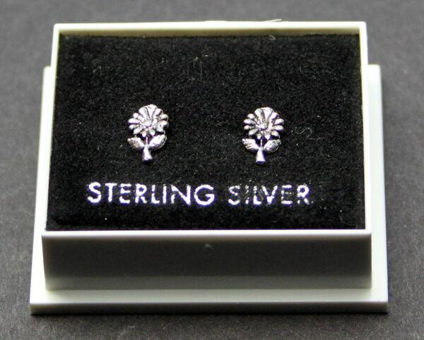 Sterling Silver 925, Stud Earrings, Small Sunflower, Butterfly Backs, Stud 184 Fein Verarbeitet