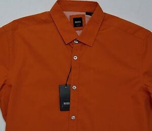 48ff97f9 Men's HUGO BOSS Orange S/S Short Sleeve Shirt Extra Large XL NWT NEW ...