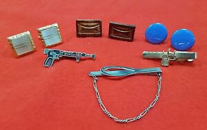 VINTAGE-CUFF-LINKS-AND-TIE-BARS-LOT-OF-6