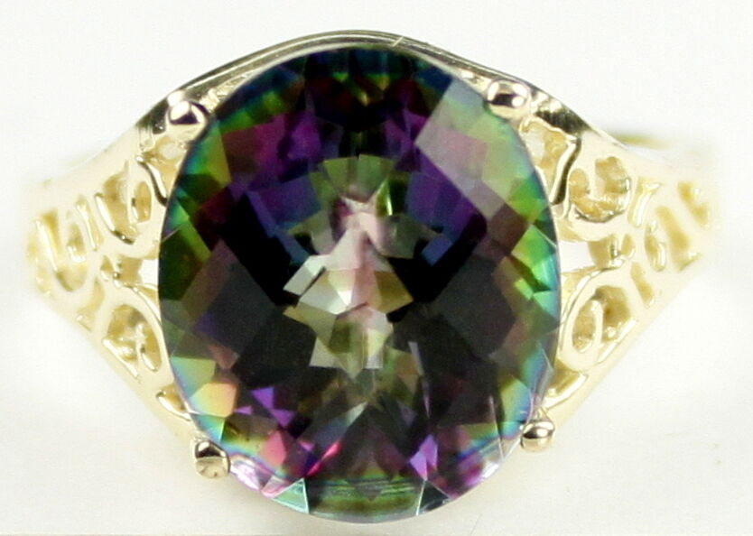 Mystic Fire Topaz Solid 10KY or 14KY gold Ladies Ring R057-Handmade