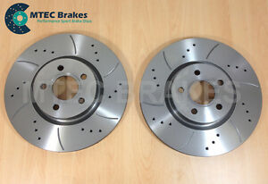 For-Ford-Focus-ST225-2-5-MTEC-Drilled-Grooved-Brake-Discs-Front-320mm
