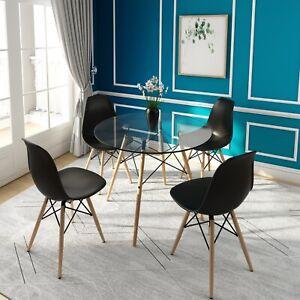 Ensemble-table-a-manger-ronde-en-verre-et-4-chaises-Ensemble-de-design-scandinav