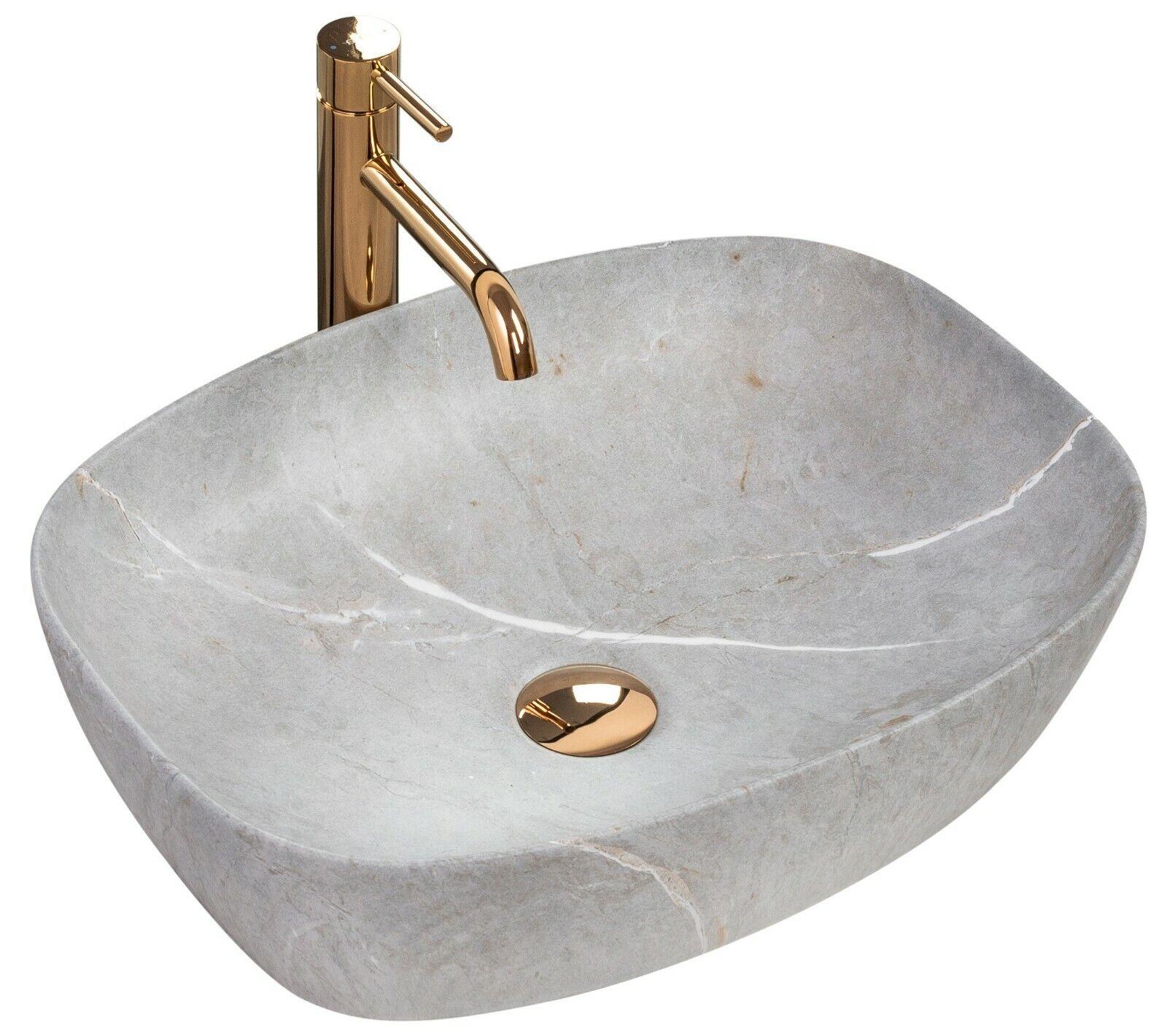 Lavabo In Ceramica - FREJA Beige gris REA Lavandino Da Appoggio