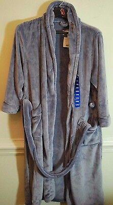 Carole Hochman Womens Dimple Plush Soft Silver Polyester Fleece Long Wrap Robe L