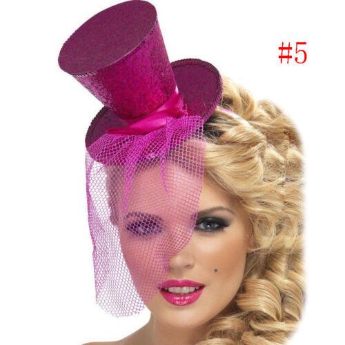 Ladies Mini Glitter Top Hat Hairpin Veil Burlesque Hen Night Party Fancy-Ullm