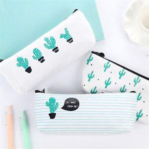 Canvas-Cactus-Design-Pencil-Pen-Case-Cosmetic-Makeup-Bag-Storage-Pouch-Purse-New