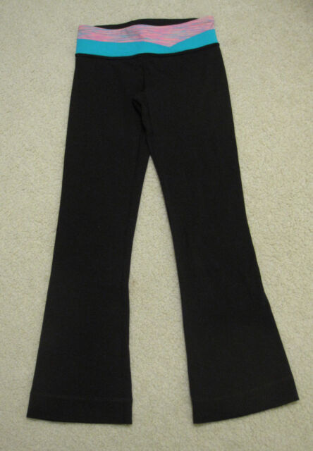 af3ebe2f82266a Ivivva Lululemon Girls Ambition Full Length Flare Pants Reversible Black  -Size 7