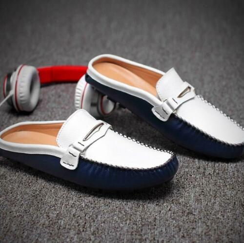 New Mens Leather Casual Slippers Slip On Loafers Slip On Flats Heel Shoes Mules