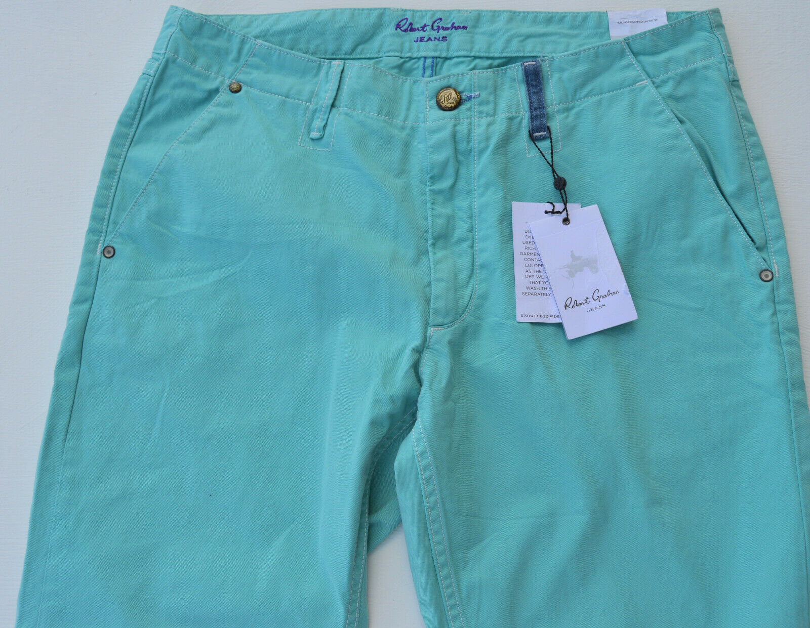 NWT  ROBERT GRAHAM MENS slim fit blueE JEANS SIZE 35X33.5