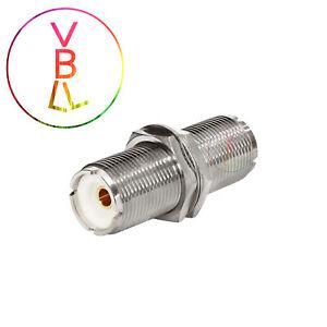 Connector-Portable-Radio-UHF-to-UHF-SO239-female-jack-bulkhead