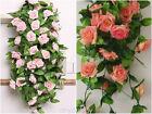 2.4m long Silk Rose Flower Ivy Vine Leaf Garland Wedding Party bouquet 4 Colors