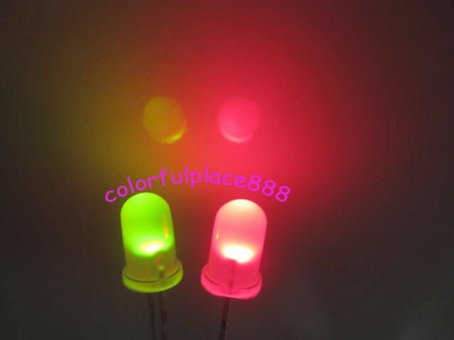 50pcs, 5mm Dual Bi Color Polar Changing Red/Green Led Diffused Leds + Resistors
