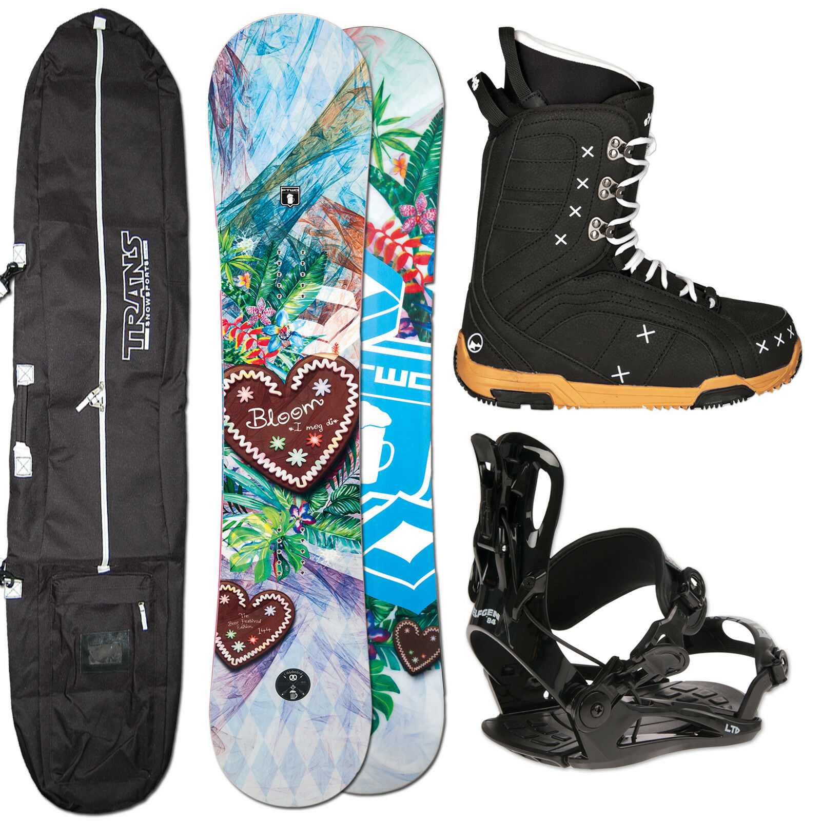 Snowboard Mujer Ftwo Bloom 140 cm + Fastec Fijación Talla S + botas + Bolsa