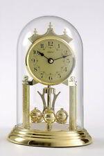 Haller Quarz Jahresuhr Tischuhr Uhr Kristallglashaube Messing Applikation  NEU