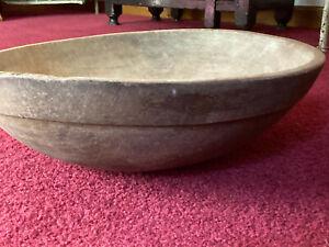 Antique-Primitive-Wood-Dough-Bowl-Attic-Surface-AAFA