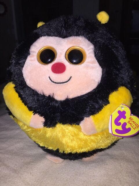 Ty Beanie Ballz 8'' Plush ZIPS The Medium Plush Round Bee Ball NEW Yellow Black