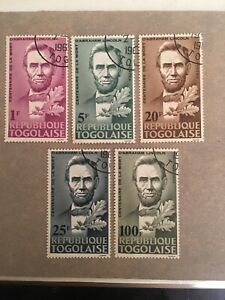 Republique-Togolaise-Abraham-Lincoln-Stamps-5-Stamps-1F-5F-20F-25F-100F