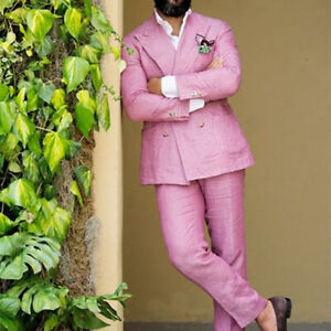 Pink-Linen-Men-039-s-Suit-Tuxedos-Double-Breasted-Causal-2-Piece-Slim-Fit-Tailored