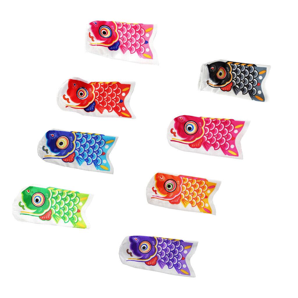 8pcs Koi Nobori Windsock Assorted Color Fish Kite Bright Japanese Carp Flag