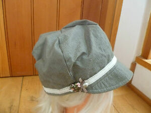MONSOON ACCESSORIZE GREEN GREY STRIPE VINTAGE BAND PEAKED HAT CAP BAKER BOY