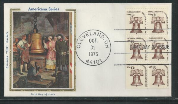 # 1595a LIBERTY BELL 1975 Colorano 'Silk' First Day Cover