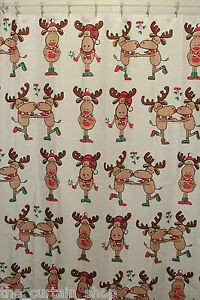 Image Is Loading Merry Kiss Moose Fabric Christmas Shower Curtain Holiday