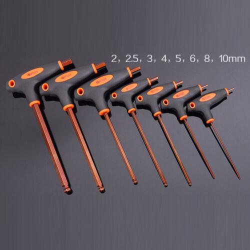 8Pcs Hex Clé Allen T Clé Allen Bar Poignée Ensemble Avec Boule Extrémités 2mm-10mm