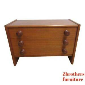 Spejle-Teak-Danish-Modern-Sculpted-Handles-Low-Lamp-End-Table-Silver-Chest