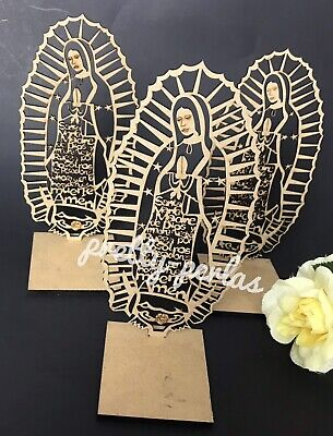 "7"" 12PC Virgin Mary-Guadalupe Wood Prayer Recuerdos de Mesa O Bautizo Communion"