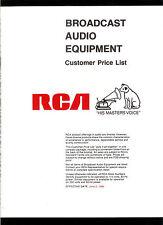 Rare Vintage 1980 RCA Broadcast Audio Equipment Customer Price List With Bonus!