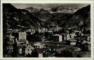 Bolzano-Bozen-Suedtirol-Ansichtskarte-1930-40-Panorama-col-Giardino-delle-Rose