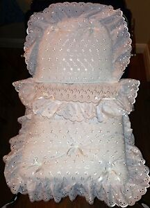 COACH-BUILT-PRAM-BEDDING-SET-MATTRESS-for-Silver-Cross-Dolls-Broderie-Anglaise
