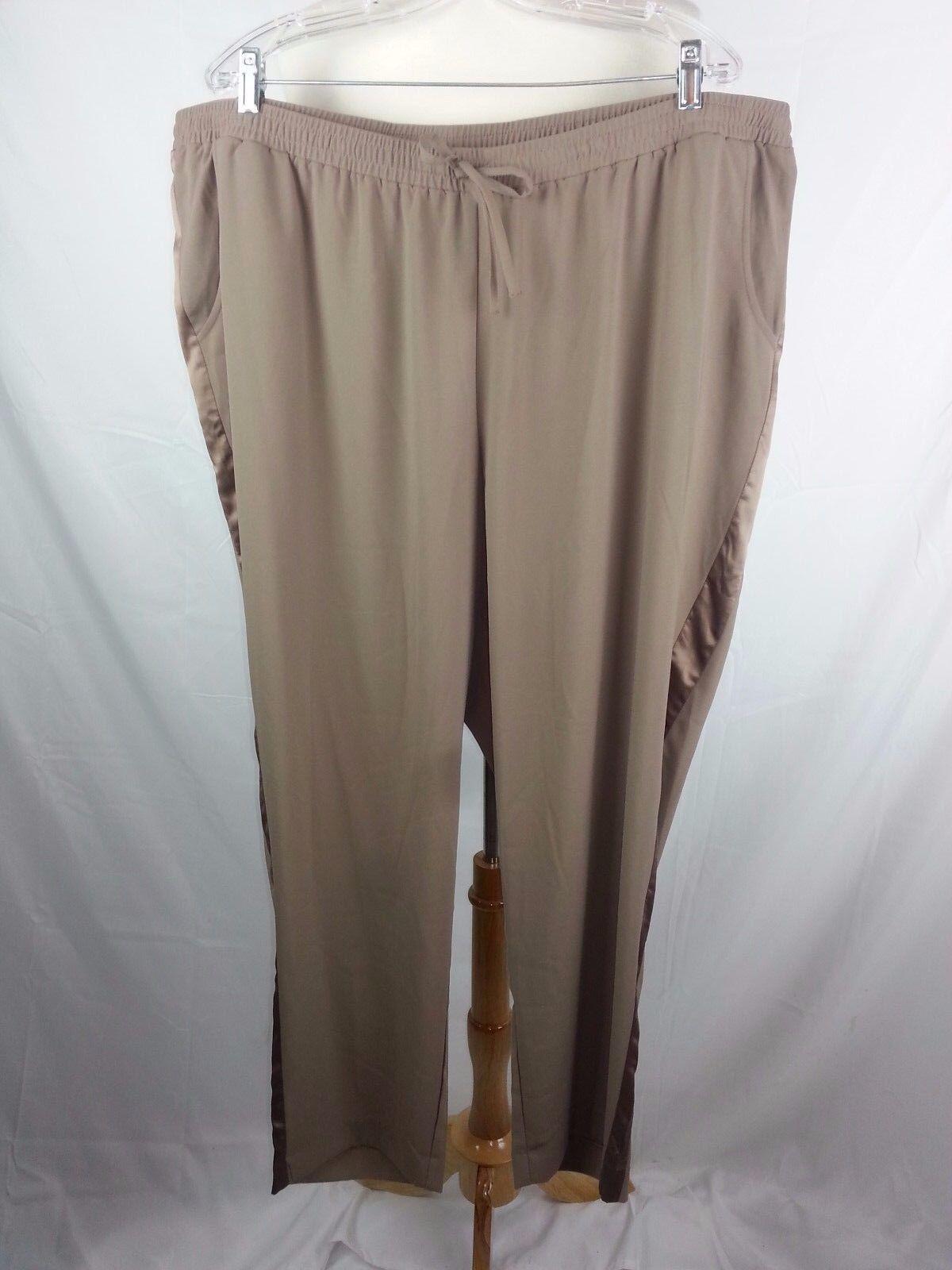 LANE BRYANT WOMEN'S PLUS SZ 22   24 Taupe Pull On PANTS 44 x 29 Side Stripes
