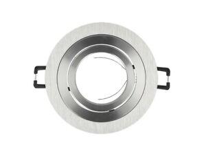 Einbaurahmen-GU10-35-Schwenkbar-Einbaustrahler-Deckenstrahler-230V-Rund-Silber