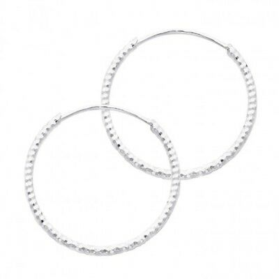 14K White Gold Polished 20mm Endless Round Hoop Earrings