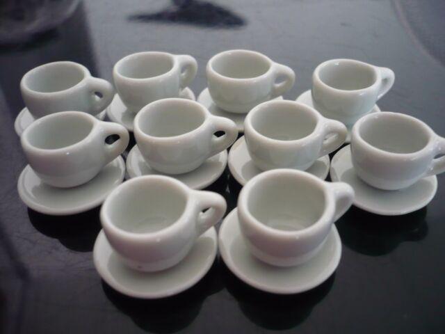10 Metallic Coffee Mugs Ceramic Dollhouse Miniatures  Kitchenware Food
