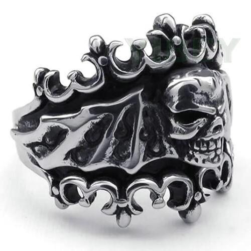 Stainless Steel Bat Skull Biker Mens Ring Vampire Crown Black silver Tone Sz8-13
