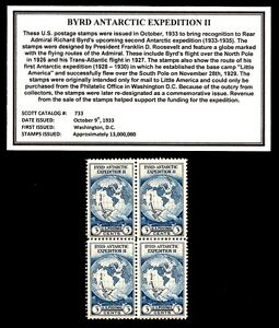 1933-ADMIRAL-BYRD-ANTARCTIC-EXPEDITION-Block-of-Four-Vintage-Postage-Stamps
