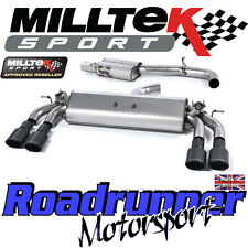 "Milltek Audi S3 8v 3-Door Exhaust 3"" Cat Back Resonated Black Ovals SSXAU401 EC"