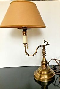 Vintage-French-Single-Bouillotte-Table-Lamp-BRASS-Pull-Chain