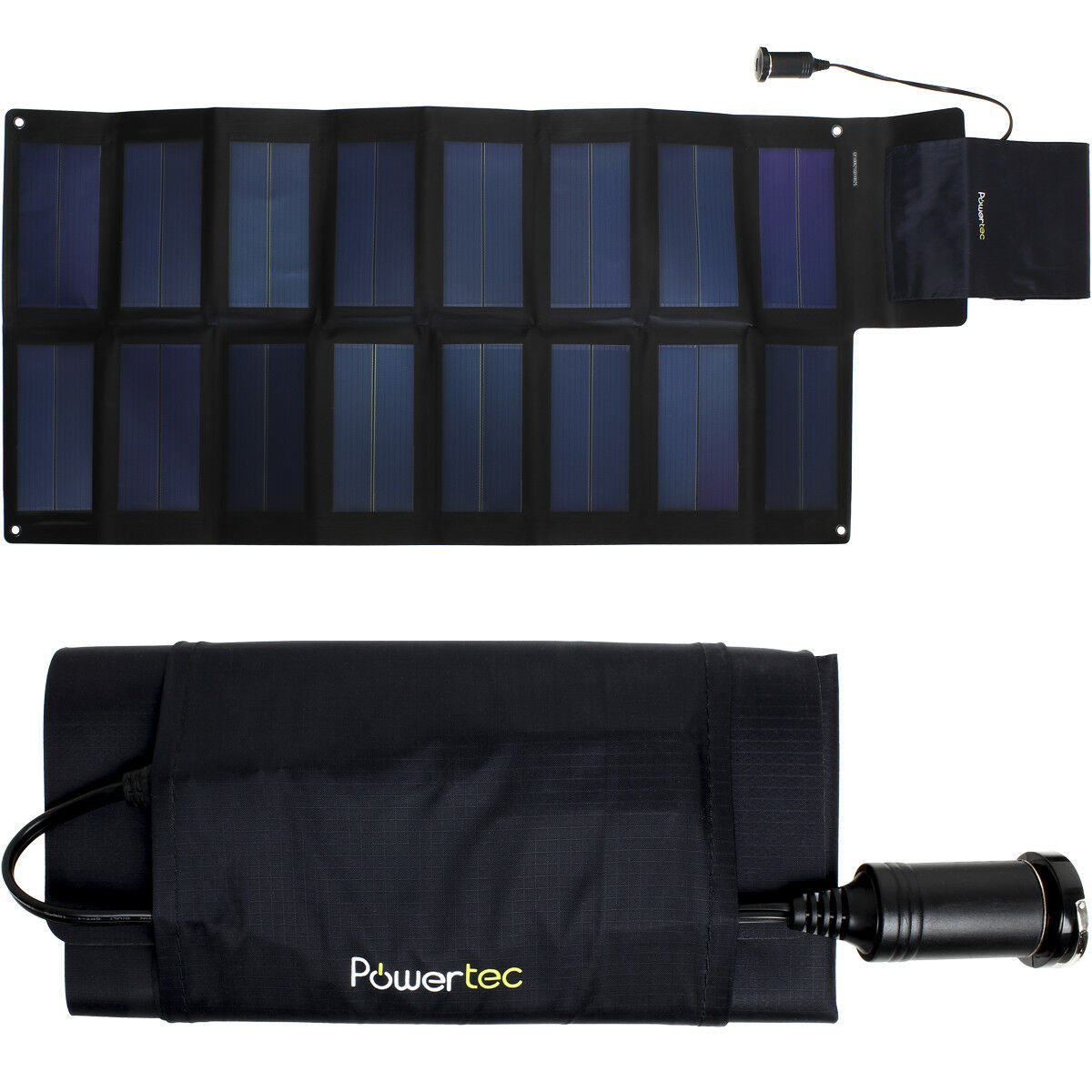 PowerTec PT25 25W Waterproof Folding Flexible Solar Panel with USB Adaptor Lead.