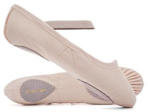 Ladies-Girls-Pink-Canvas-Split-Sole-Ballet-Shoes-All-Sizes-By-Katz-Dancewear-ECO