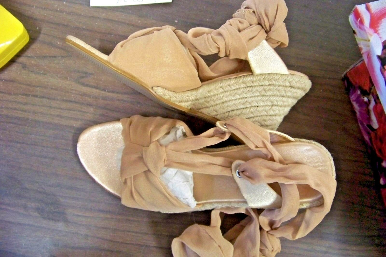 bolaro summer rio camel shoes ankle tie wedge heels shoes camel size 7 96c59e