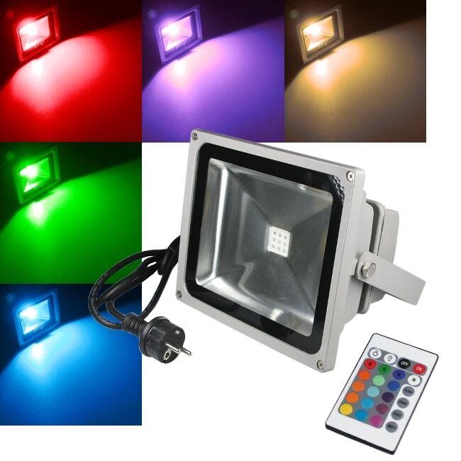 50w RGB LED lámpara exterior eh 230v m. control remoto emisor iluminación de objeto