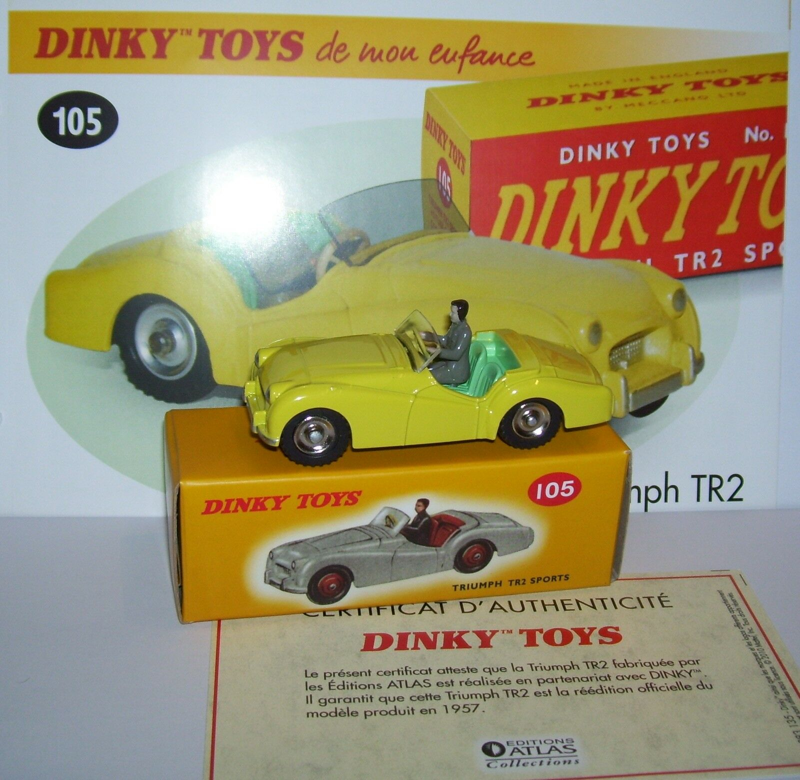DINKY TOYS ATLAS TRIUMPH TR2 SPORTS YELLOW 1 43 REF 105 IN BOX