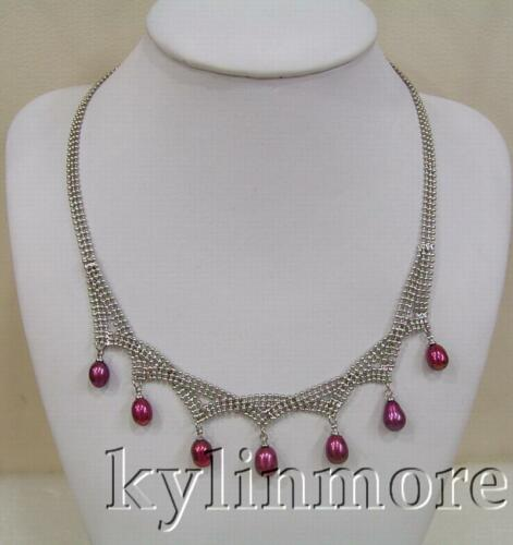 """6x8mm Purple Rice Pearl necklace 17/"""""""
