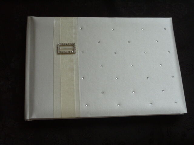Plain Ivory Special Occasion/Wedding Guest Book with Diamantes