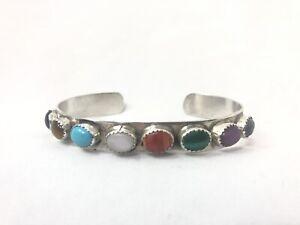 Native-American-Navajo-Multi-Stone-Sterling-Silver-Cuff-Bracelet-Signed-LB