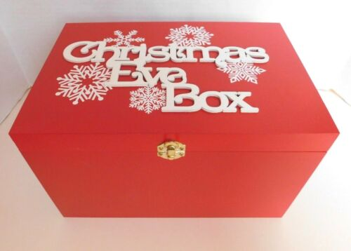 Wooden Christmas Eve Box Size 30cm x 20cm x 18.5cm RED//WHITE SNOWFLAKES