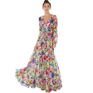 Womens-Boho-V-Neck-Floral-Print-Wrap-Flowy-Pleated-Wedding-Long-Party-Maxi-Dress